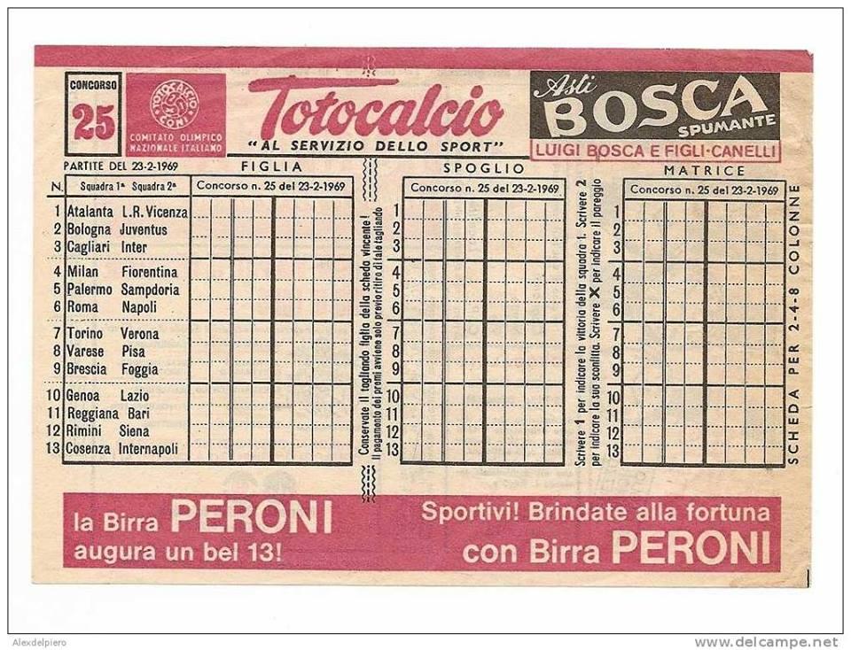 Domenica 23 febbraio 1969 genova stadio luigi ferraris for Schedina della domenica