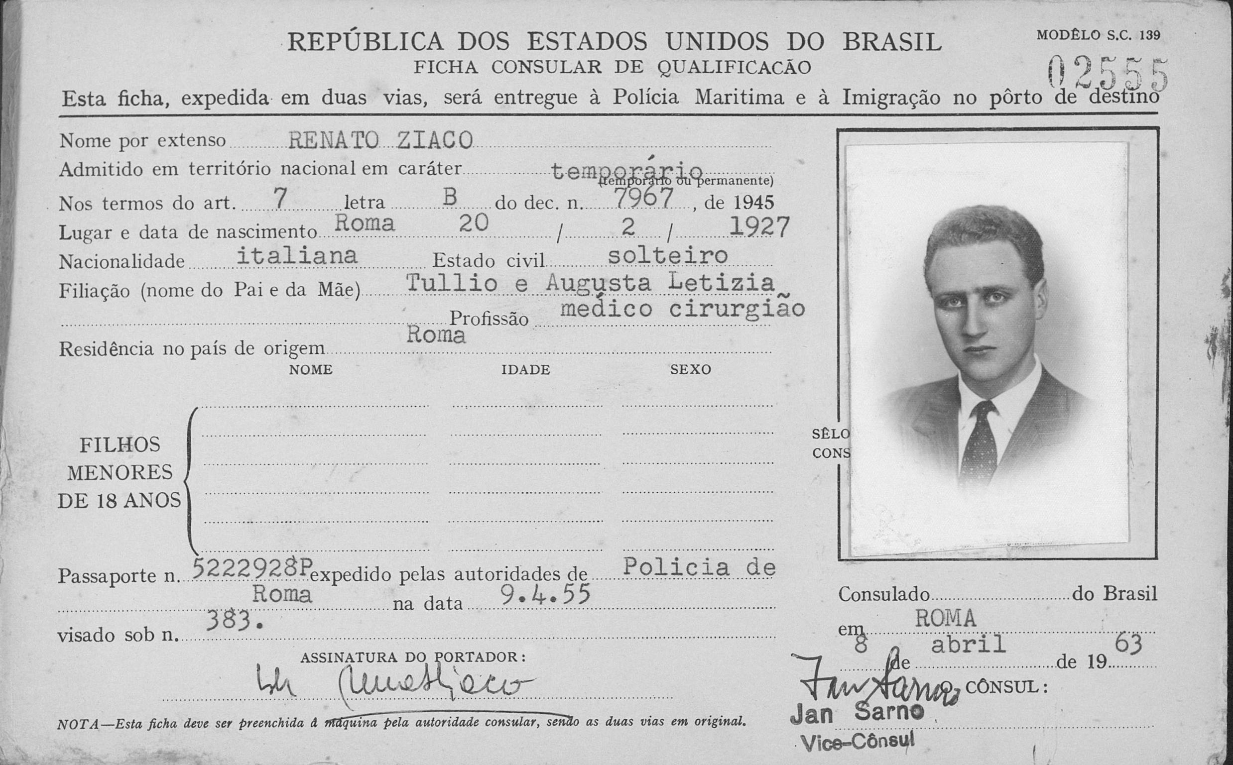 Il permesso di soggiorno rilasciato al dott Ziaco in occasione di un viaggio in Brasile