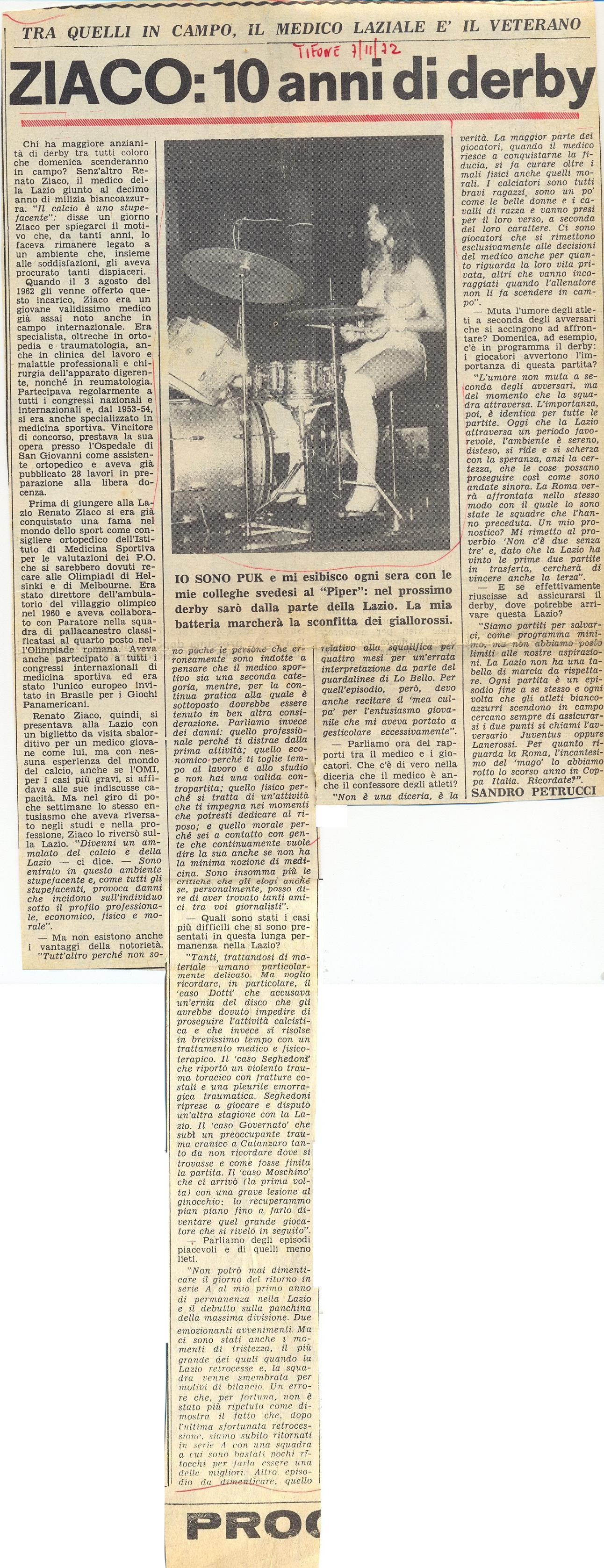 1972 Dal Tifone intervista a Ziaco per i 10 anni di Lazio