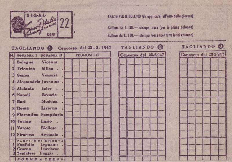 Domenica 23 febbraio 1947 torino stadio filadelfia for Schedina della domenica
