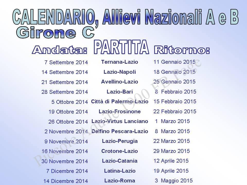 Calendario Allievi Nazionali.Allievi Nazionali Campionato 2014 15 Laziowiki