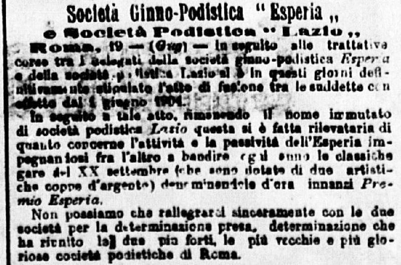 Calendario Gare Podistiche Lazio.La Fusione Tra Esperia E Lazio Laziowiki