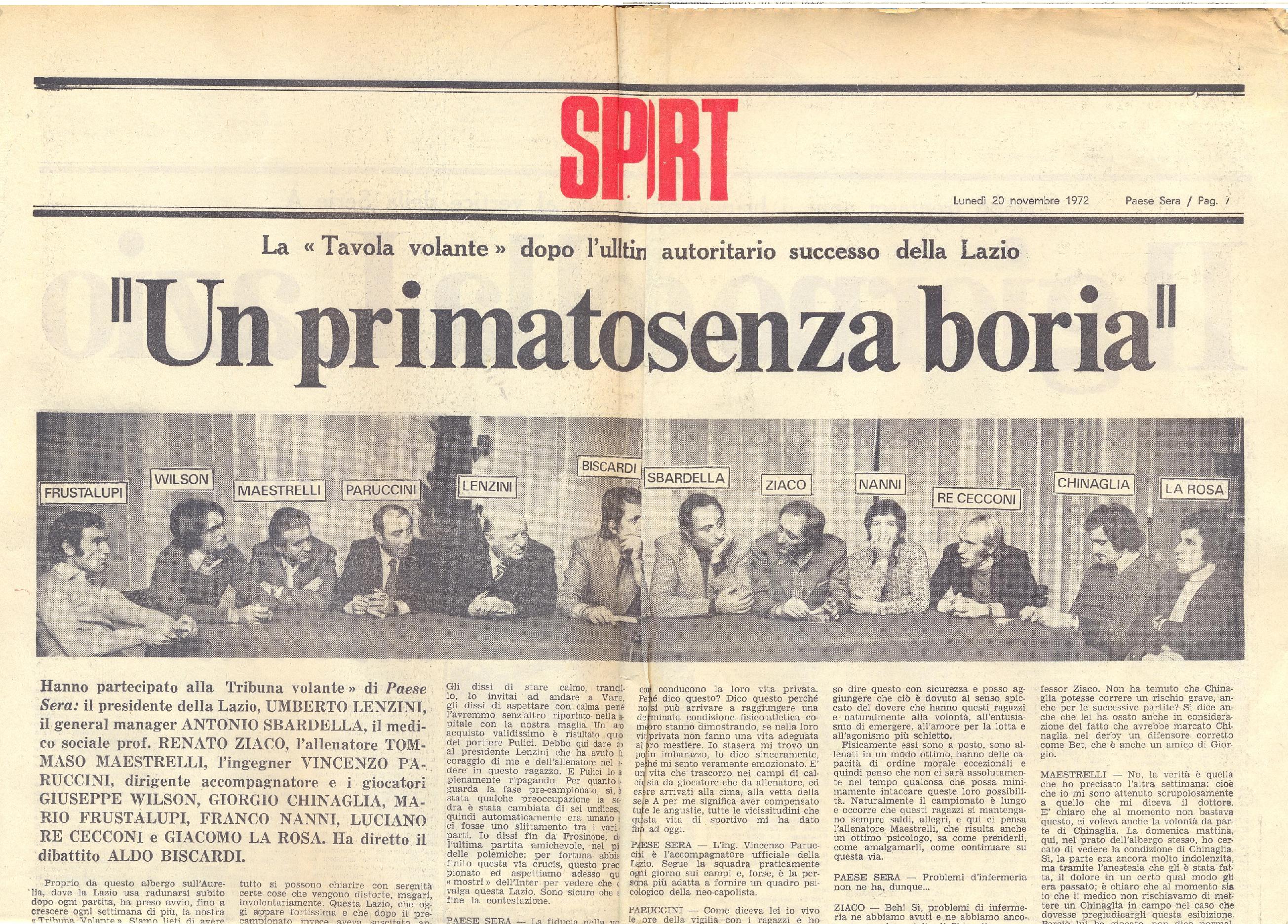 20 novembre 1972 La Lazio ¨ prima a sorpresa e i giornali si contendono i giocatori Gent Conc Famiglia Ziaco